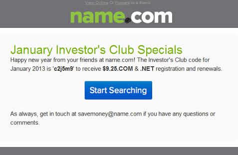 name dominios descuento enero Cupon 2013