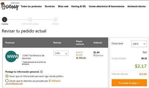 Transfiere tus dominios com por menos 3 dolares godaddy