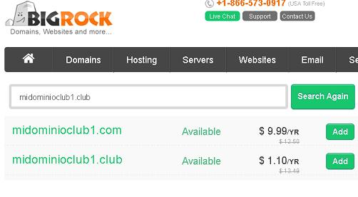 dominio club 1 dolar