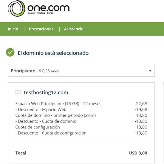 one hosting promocion
